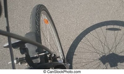 pov, cyclist's, personne, perspective., route, vue