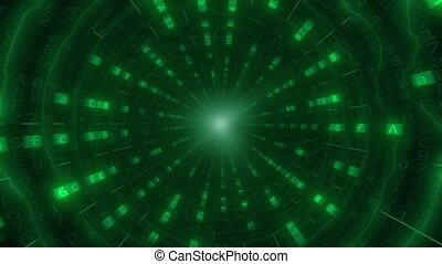 POV motion through the green tunnel or cable made of hexadecimal computer code. Loopable motion background