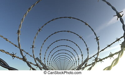 POV moving shot inside barbed wire spiral fence, seamless...