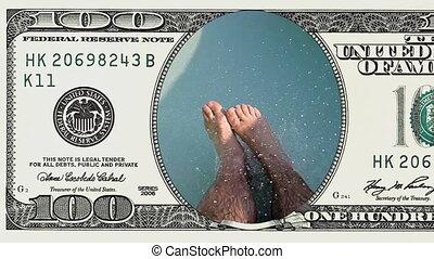 POV of a man riding water slide in 100 dollar bill - POV of...