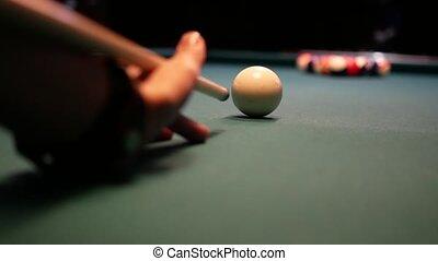 POV of a pool shot - POV of a pool first shot. 4k UHD video...