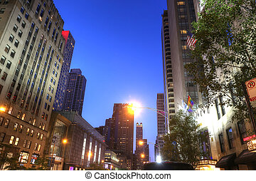 POV of Chicago City Center in the sunset.  Main street of Chicago.