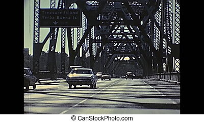 Oakland Bay Bridge - POV of vintage car crossing Oakland Bay...