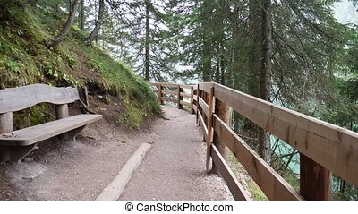 POV shot of person walking in mountain woods - POV, first...