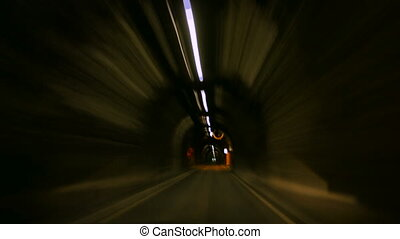 POV video footage of a trip in tunnel