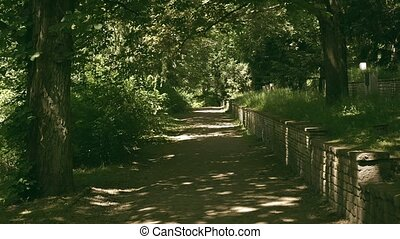 POV walk along park pathway - POV walk along park path