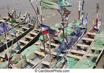povero, barche, pesca, africano