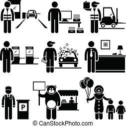 povero, classe, lavori, basso, occupazioni