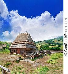 povero, contadino, altopiani, cabina, pittoresco