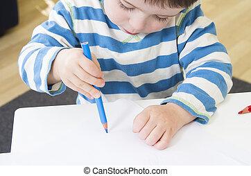 povero, matita, bambino primi passi, presa, disegno