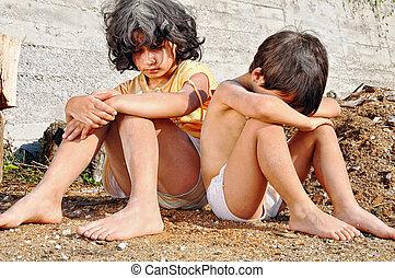 povertà, e, poorness, su, il, espressione, di, bambini