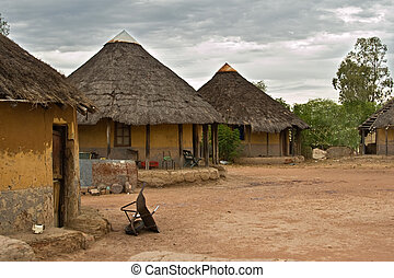 African village - Poverty face of a real African village,...