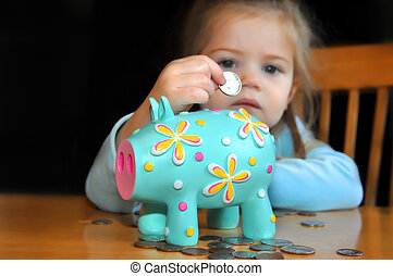 Sad child puts a nickle into a brightly decorated piggy bank. Background is dark as are her chances in life.