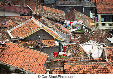 Poverty - crowded population in a developing country