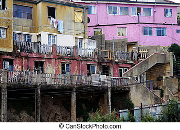Poverty - Urban decay in poor district in Valparaiso, Chile