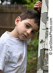Poverty - Portrait of a young impoverished or runaway...