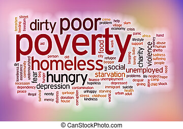 Poverty word cloud with abstract background