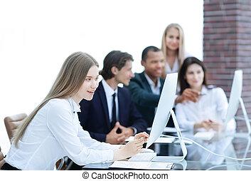 povolání, běžet, správce, mužstvo, discussing, vytékat