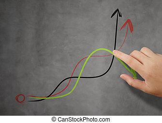 povolání, pikýrování, graf, rukopis, conc, obchodník, strategie