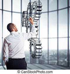 povolání, podnik, systém, mechanismus, strategie, gears.