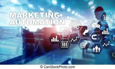 povolání, postup, střední jakost, concept., internet, systém, automatizace, grafické pozadí., marketing, smíšený, technika, software