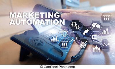 povolání, postup, střední jakost, concept., internet, systém, automatizace, grafické pozadí, marketing, smíšený, technika, software