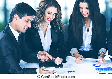 povolání, technika, úřad, pojem, -, usmívaní, samičí, boss, mluvil ku, business četa