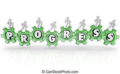 povos trabalham, torneado, engrenagens, de, progresso