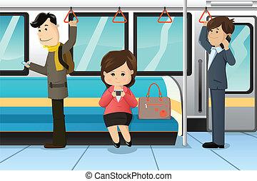 povos, usando, telefones celulares, em, um, trem