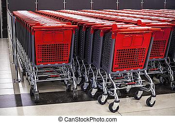 povyk, o, shopping vozík, do, ta, sklad