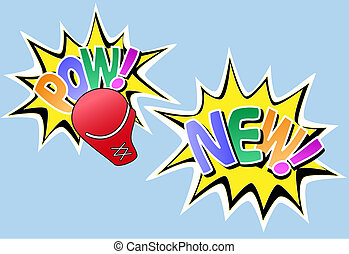 POW NEW knockout comic style effects - POW NEW set of 2...