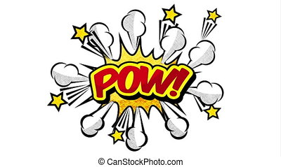 pow, pop, explosion, mot, animation, art, style