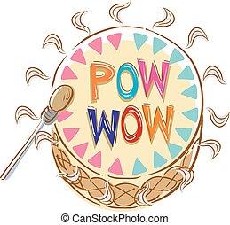 pow, tambor, wow, ilustração