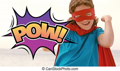 Pow text on speech bubble against boy in superhero costume ...