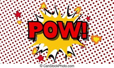 POW - word speech balloons comic style animation