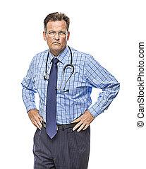 poważny, biały samczyk, stetoskop, doktor