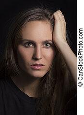 poważny, kobieta, młody, portret