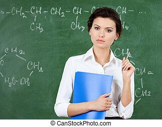 poważny, nauczyciel, na, przedimek określony przed rzeczownikami, tablica