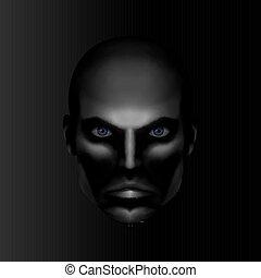 poważny, samiec, twarz