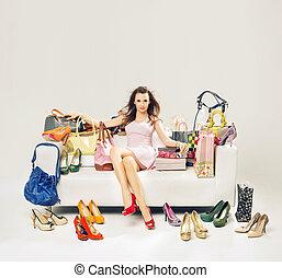 powabny, sofa, kobieta shopping, pełny