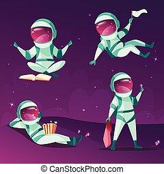 powaga, astronauci, planeta, zero, wektor, nieważkość, ...