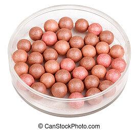 powder balls isolated on white background