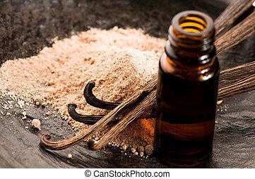 powder-, beauté, essentiel, bouteille, vanille, traitement, huile