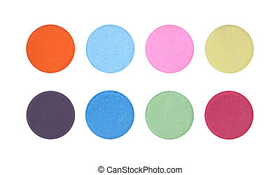 Powder color palette buttons on white background.