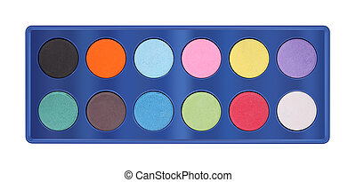 Powder color palette tray on white background.