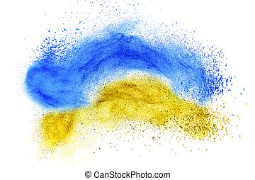 powder foundation explosion isolated on white