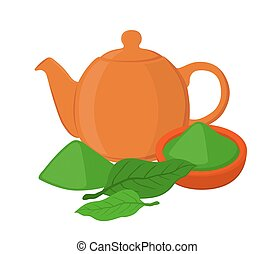 Powder, leaves of asian tea, teapot, teakettle. Cartoon flat style
