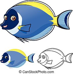 powderblue, surgeonfish, rysunek