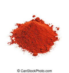 Powdered dried red pepper isolated on white background