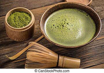 Powdered green tea - Matcha fine powdered green tea with...